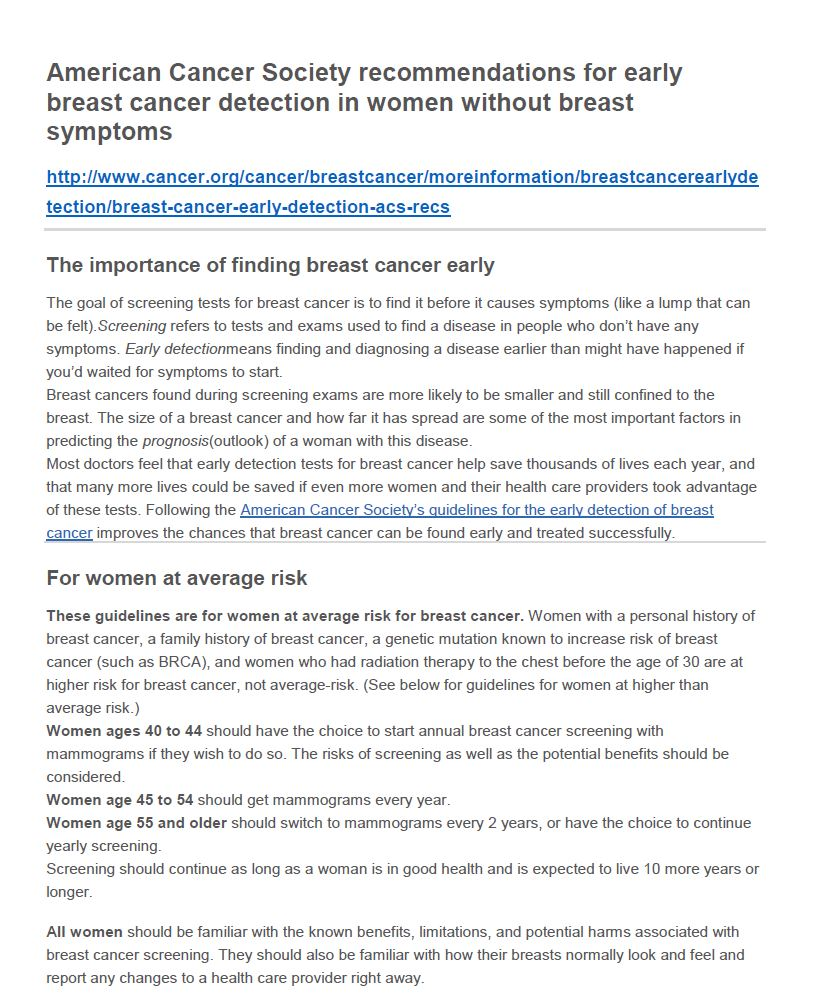 proper precaution should be taken by women to detect cancer early Regular check-ups are important below are resources to help you and your health care provider cdc's national breast and cervical cancer early detection.